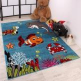 Kinderteppich Tiere blau