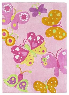 Andiamo 1100398 Kinderteppich Konturenschnitt Schmetterlingsmuster handgetuftet, 120 x 170 cm, rosa - 1