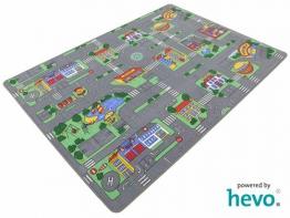 Auto Teppich HEVO ® Kinder Strassen Spielteppich | Kinderteppich 145x200 cm - 1