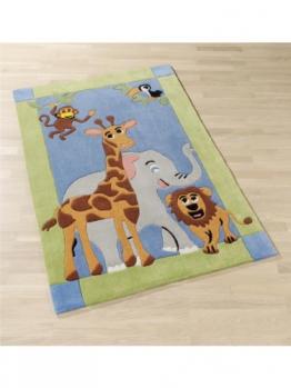 benuta Teppiche: Kinderzimmer Kinderteppich Dschungel Multicolor 150x220 cm - 100% Polyacryl - Tiermotive - Handgetufted - Kinderzimmer - 1