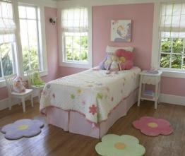 Blumenteppich für Mädchen-Kinderzimmer, Dekorativer Gänseblümchen-Teppich ca. 63,5 cm - in 3 Farben - Vorleger (3er Set) - 1