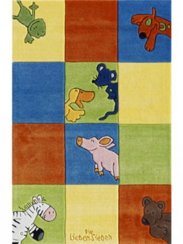 Die lieben Sieben Teppiche Kinderzimmer Kinderteppich Colorful Multicolor 150x220 cm / Prüfsiegel: Oeko-Tex Standard 100-Siegel / Flormaterial: 100% Polyacryl / Florhöhe: 11 bis 20 mm / Motiv/Design: Cartoons & Spielfiguren / Herstellungsart:Maschinengetufted / Wohnraum: Kinderzimmer - 1