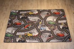 Disney Cars grau Kinderteppich Spielteppich - 1,60 x 2,00 - Lightning Mcqueen Straßenteppich für Kinder, - 1