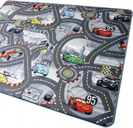 Disney Cars grau Teppich Kinderteppich mit Lightning Mcqueen Straßenteppich für Kinder, 125x200 cm - 1