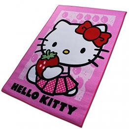 Disney Spielteppich - Kinderteppich - Teppich - Läufer 133x95cm mit Motivauswahl (Hello Kitty Strawberry) - 1