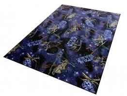 Disney STAR Wars Teppich Spielteppich Kinderspielteppich Weltall blau schwarz, 70 x 130 cm - 1