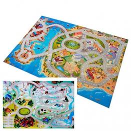 Doppelseitiger Kinderspielteppich in 2 Größen | phtalat-frei | Motive Küstenstadt + Bergstraße, beidseitig | 100 x 150 cm - 1