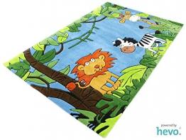 Dschungel blau HEVO ® Handtuft Teppich | Kinderteppich | Spielteppich 140x200 cm Öko Tex 100 - 1