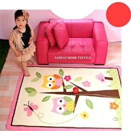FADFAY Heimtextilie, einzigartiger Kinderteppich fürs Wohnzimmer, Rosa Design, Cartoon mit Eulen, Märchenfeen, grazilen Schmetterlingen - 1