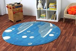 Havatex: Kinderteppich Happy Friends Delfine blau rund / Prüfsiegel: ÖkoTex / Flormaterial 100% Heatset Friese / In verschiedenen Größen erhältlich - 1