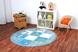 Havatex: Kinderteppich Happy Friends Meereswelt blau rund / Prüfsiegel: ÖkoTex / Flormaterial 100% Heatset Friese / In verschiedenen Größen erhältlich - 1