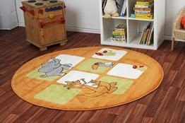 Havatex: Kinderteppich Happy Friends Safariwelt orange rund / Prüfsiegel: ÖkoTex / Flormaterial 100% Heatset Friese / In verschiedenen Größen erhältlich - 1
