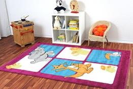 Havatex: Kinderteppich Happy Friends Safariwelt pink / Prüfsiegel: ÖkoTex / Flormaterial 100% Heatset Friese / In verschiedenen Größen erhältlich - 1