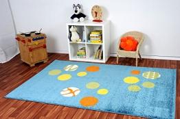 Havatex: Kinderteppich Kiddy Brilliant Animaldots blau / Prüfsiegel: ÖkoTex / Flormaterial 100% Heatset Friese / In Verschiedenen Größen erhältlich - 1