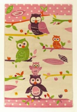 Hochwertiger Kinderteppich mit bunten Eulen verschiedene Größen und Farben (Eulen, 120 cm x 170 cm) - 1