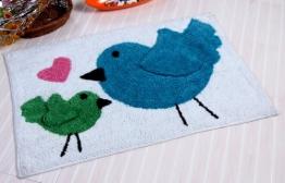 Homescapes Kinderteppich Birds Heart 50 x 80 cm 100% Baumwolle Vorleger für Badezimmer oder Kinderzimmer - 1