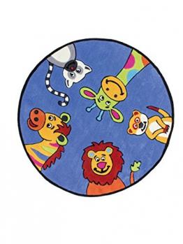 Inspire Kids Teppich Teppiche Modern Flachflor Kurzflor Tiere Kinderteppich Rund, Größe:115cm x 115cm;Farbe:Blau - 1