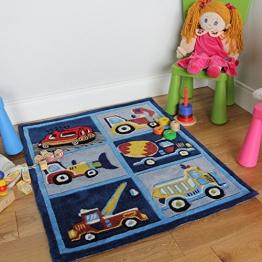 Junge Weich Blau Bagger/Lkw Robust Kinderspielzimmer Teppich 80 x 100 cm - 1