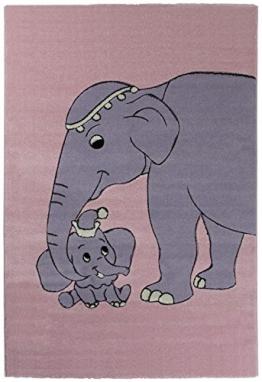 Kids-Sehrazat Kids-Fil 160 x 230 cm Elefant Rose, 100 % PP, Gewicht circa 3100 g/m², Florhöhe circa 12 mm - 1