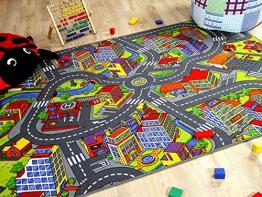 Kinder Spiel Teppich Little Town 3D Grau in 24 Größen - 1