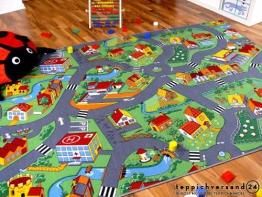 Kinder Spiel Teppich Little Village Grün in 24 Größen - 1