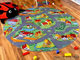 Kinder Spiel Teppich Little Village Grün Rund in 7 Größen - 1
