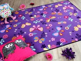 Kinder Spiel Teppich Schmetterling Lila in 24 Größen - 1