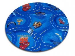 Kinder Spiel Teppich Walt Disney Cars Auto Blau 160 cm Ø Rund - 1