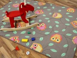 Kinder Spielteppich Eule Taupe Beige Karamell in 24 Größen - 1