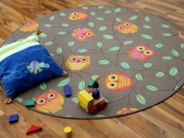 Kinder Spielteppich Eule Taupe Beige Karamell Rund in 7 Größen - 1