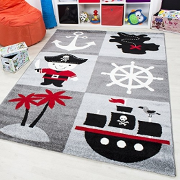 Kinder Teppich Happy Collection Pirat Motiv Jugendzimmer Carpet 1803 Grau (160 x 230 cm) - 1