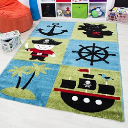 Kinder Teppich Happy Collection Pirat Motiv Jugendzimmer Carpet 1803 Multi Farben (200x290 cm) - 1