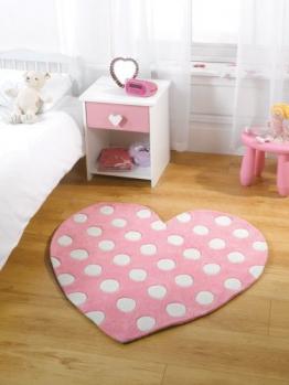 Kinder Teppich Kiddy Mädchen Polkadot Herz pink farbige in 90x 90cm (2'17,8cm X 2' 17,8cm) Teppich - 1