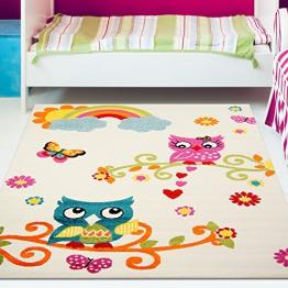 Kinder Teppich Moda Öko Tex Eule creme bunt verschiedene Größen 120x160 cm - 1