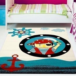 Kinder Teppich Moda Öko Tex Pirat blau rot creme verschiedene Größen 160x225 cm - 1