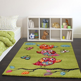 Kinder Teppich Niedliche Eulen Grün Creme Rot Blau Orange, Grösse:120x170 cm - 1