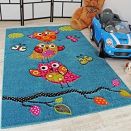 Kinder Teppich Niedliche Eulen Türkis Blau Orange Grün Pink, Grösse:120x170 cm - 1