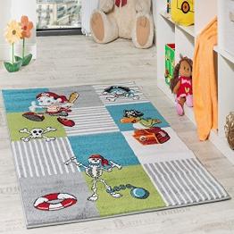 Kinder Teppich Pirat mit Papagei Schatzkiste Kinderzimmer Karo Grün Creme Türkis, Grösse:120x170 cm - 1