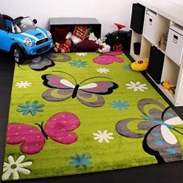 Kinder Teppich Schmetterling Design Grün Creme Rot Pink, Grösse:120x170 cm - 1