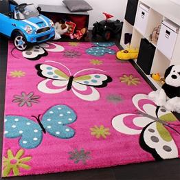 Kinder Teppich Schmetterling Design Grün Rot Grau Schwarz Creme Pink, Grösse:120x170 cm - 1