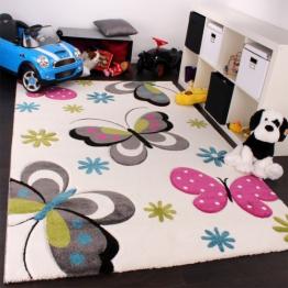 Kinder Teppich Schmetterling Design Pink Grün Blau Grau Creme, Grösse:Ø 120 cm Rund - 1