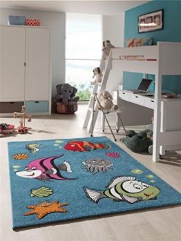 Kinder Teppich Spielteppich Jugendzimmer Fische Aquarium Ozean Blau Türkis (120x170 cm) - 1