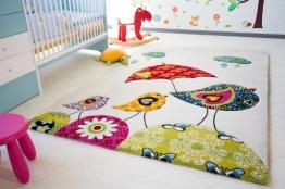 Kinder Teppich Vogel Theo - Little Carpet Kinderteppich beige - Öko-Tex zertifiziert, Größe: 200x240 cm - 1