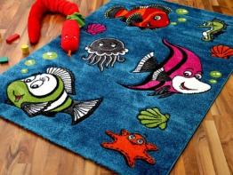 Kinder und Spiel Teppich Modern Maui Fisch Blau in 4 Größen - 1