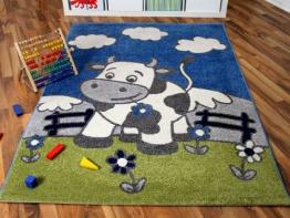 Kinder und Spielteppich Softstar Kuh Blau in 3 Größen - 1