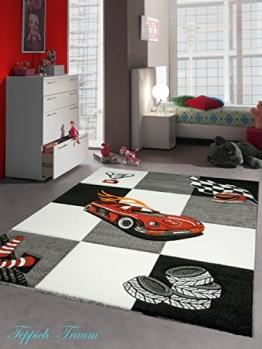 Kinderteppich Auto Design Kurzflor 3D Konturenschnitt Cream Grau Rot Schwarz Orange Größe 160x230 cm - 1