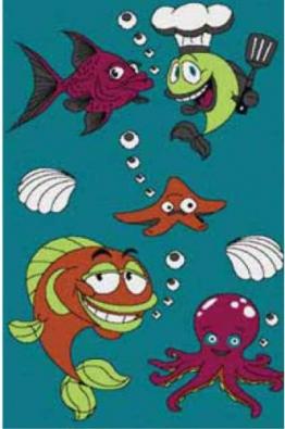 Kinderteppich KIDS Kollektion Fische 0080 BLAU 120 X 170cm - 1