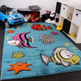 Kinderteppich Klaunfisch Unterwasserwelt Design Türkis Blau Grün Creme Pink, Grösse:160x230 cm - 1