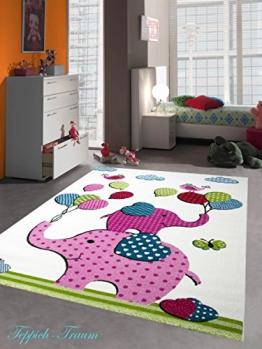 Kinderteppich Kurzflor Elefant pink rosa blau weiss rot grün bunt Größe 120x170 cm - 1