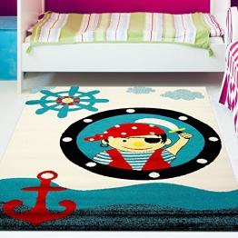 Kinderteppich Play Pirat Türkis Rot Creme Öko Tex verschiedene Größen, Moda:190 x 280 cm - 1